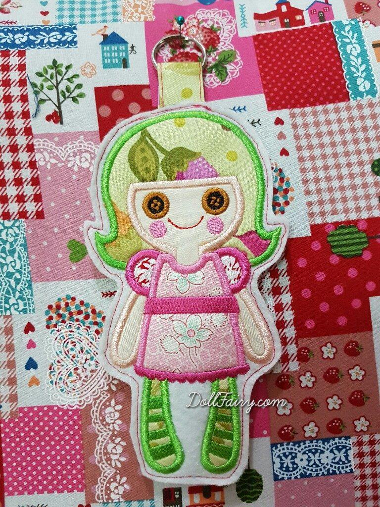 Doll Applique Key Fob Doll Fairy