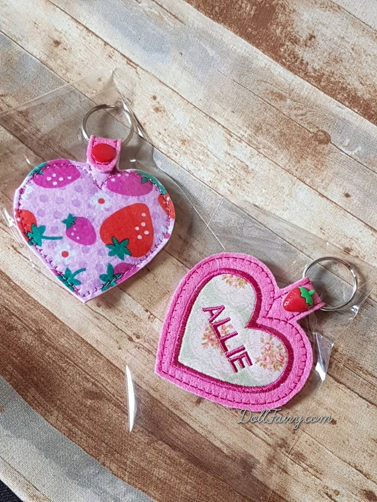 Personalised Heart Key Fob with Strawberry Snap Tab