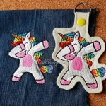 Rainbow Mane Unicorn Denim And Key Snap