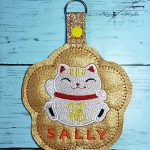 Fortune Cat Keychain with Personalised Name For Sally (Key Fob Snap Tab)