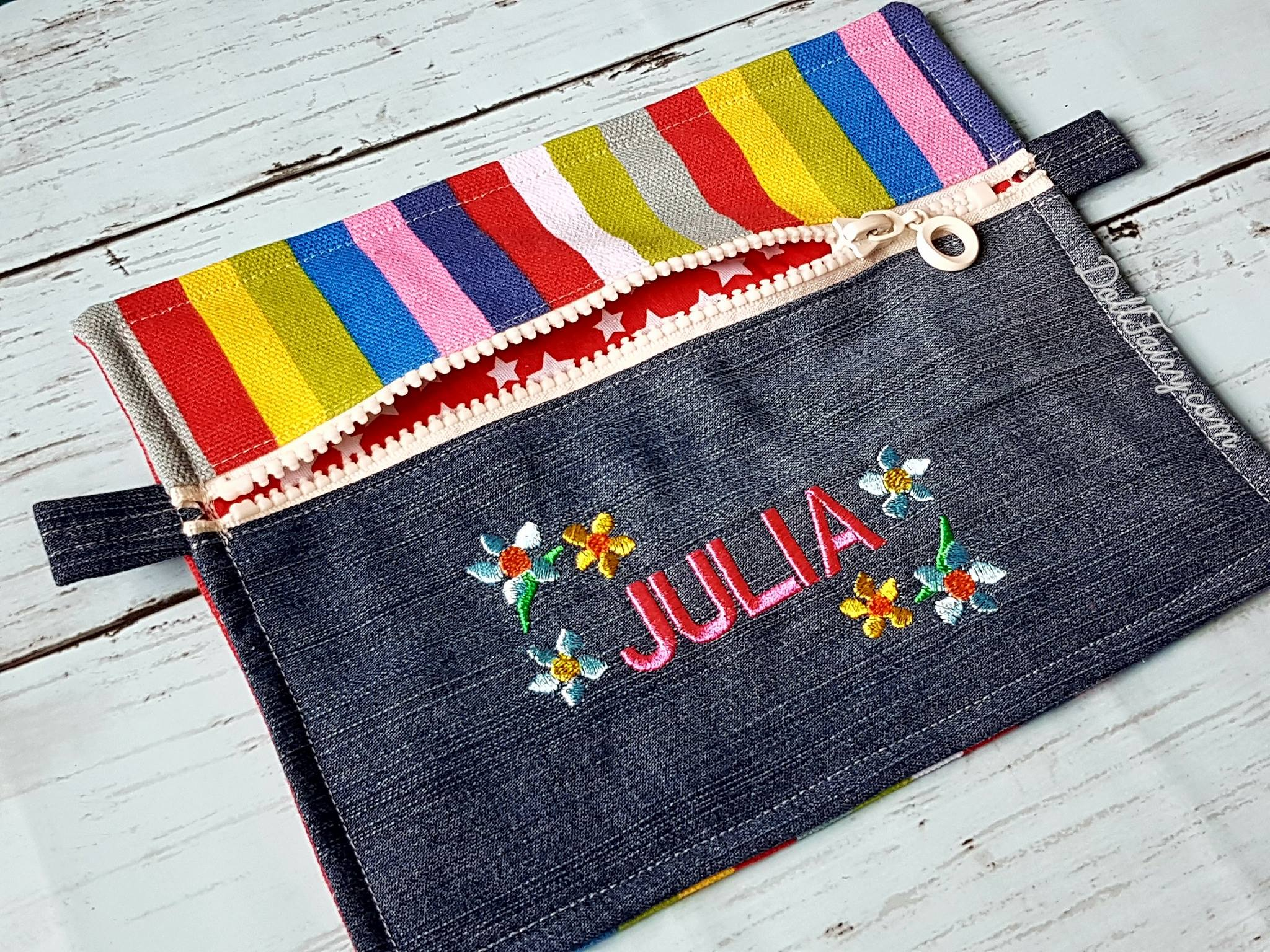 Rainbow Denim Pencil Case with Personalised Name For Julia