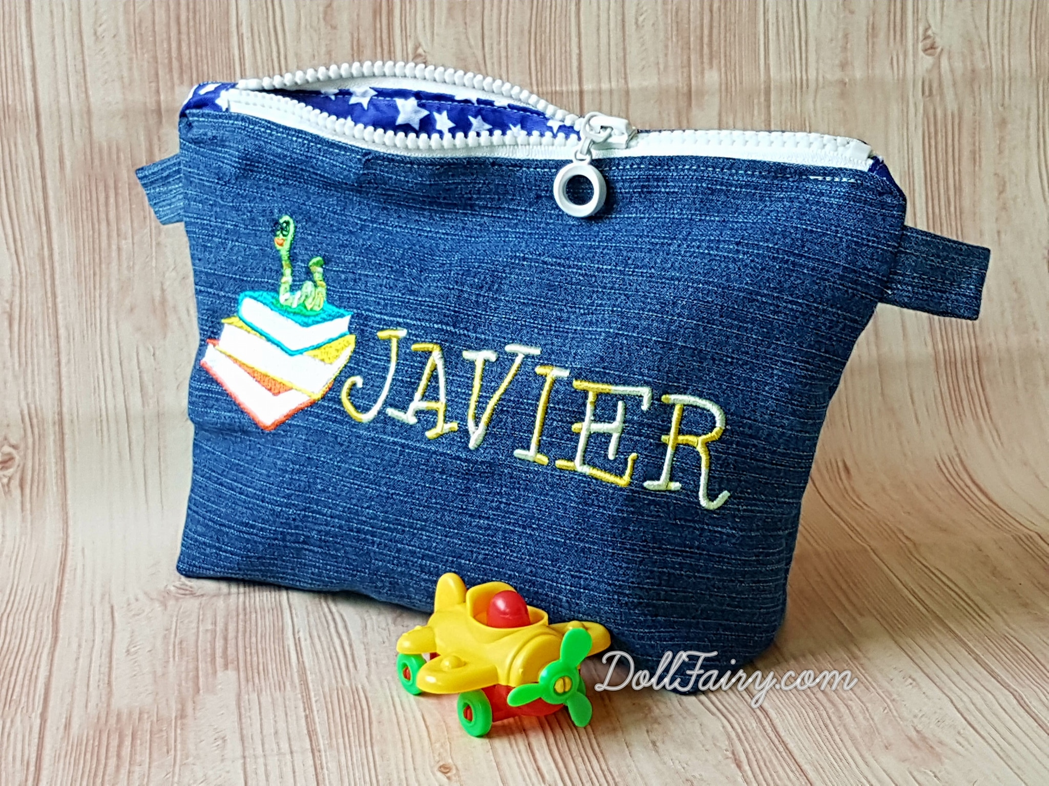 Bookworm Denim Pencil Case with Personalised Name For Javier