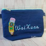 Bookworm Denim Pencil Case with Personalised Name For Wei Xuan
