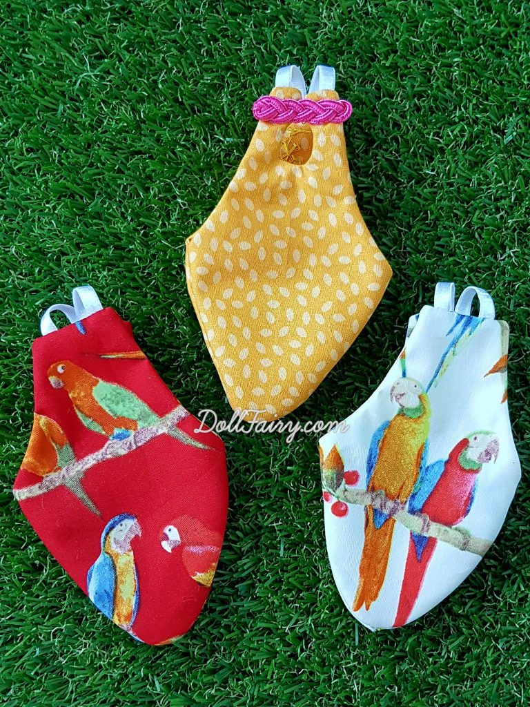 These beautiful flight diaper suits heading off to the very adorable Caique parrot, Zaza, and the very excited mum.