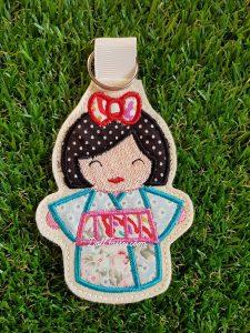 Blue Kimono Kokeshi Japanese doll key fob.