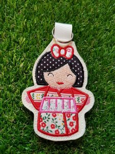 Red Kimono Kokeshi Japanese doll key fob.