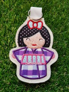 Purple Kimono Kokeshi Japanese doll key fob.