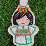 Green Kimono Kokeshi Japanese doll key fob.