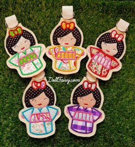 Group shot of the beautiful Kimono Kokeshi Japanese dolls key fob.