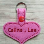 A pink heart shaped key fob for a sweet girl.