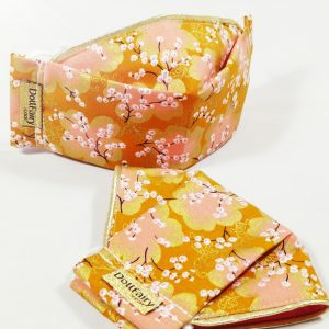 Sakura Floral Washable Reusable Face Mask With Gold Trim